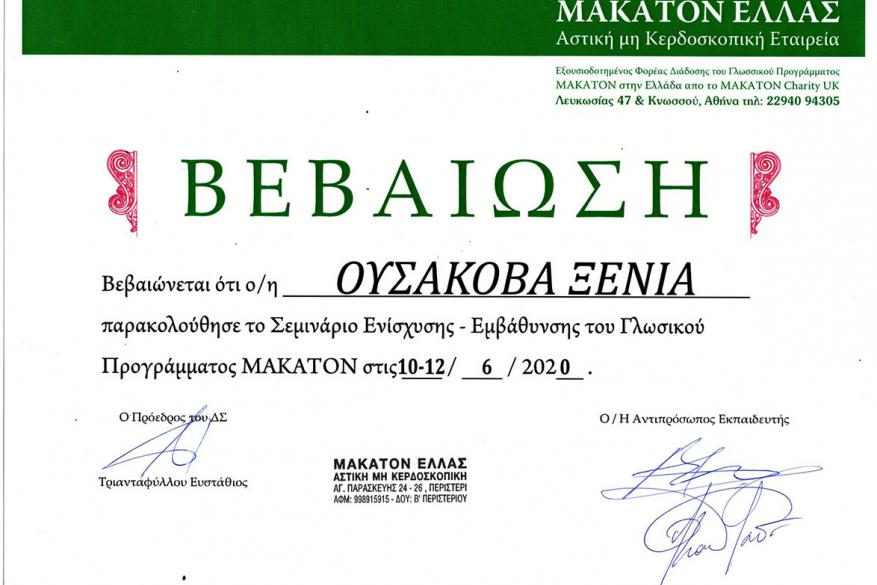 Σεμινάριο με θέμα «Σεμινάριο Ενίσχυσης - Εμβάθυνσης του Γλωσσικού Προγράμματος MAKATON», Εισηγητής: Ι. Βουγινδρούκας, Αντιπρόσωπος εκπαιδευτής MAKATON Ελλάς, Λογοπεδικός